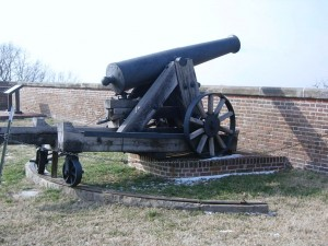This 24 pounder cannon has an effective range of 1900 yards, almost double the distance to the Virginia shoreline.