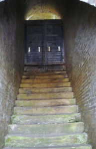 The stairway from the water batter outside the fort